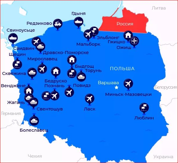 Map of USA and NATO military bases in Poland
