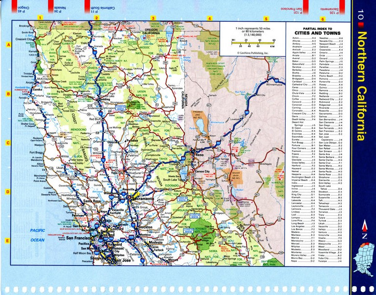 Map of Northern California - national parks, reserves, recreation areas