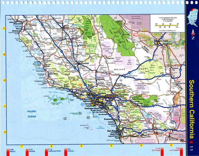 Map of Southern California - highways, national parks, reserves, recreation areas, and Indian reservations