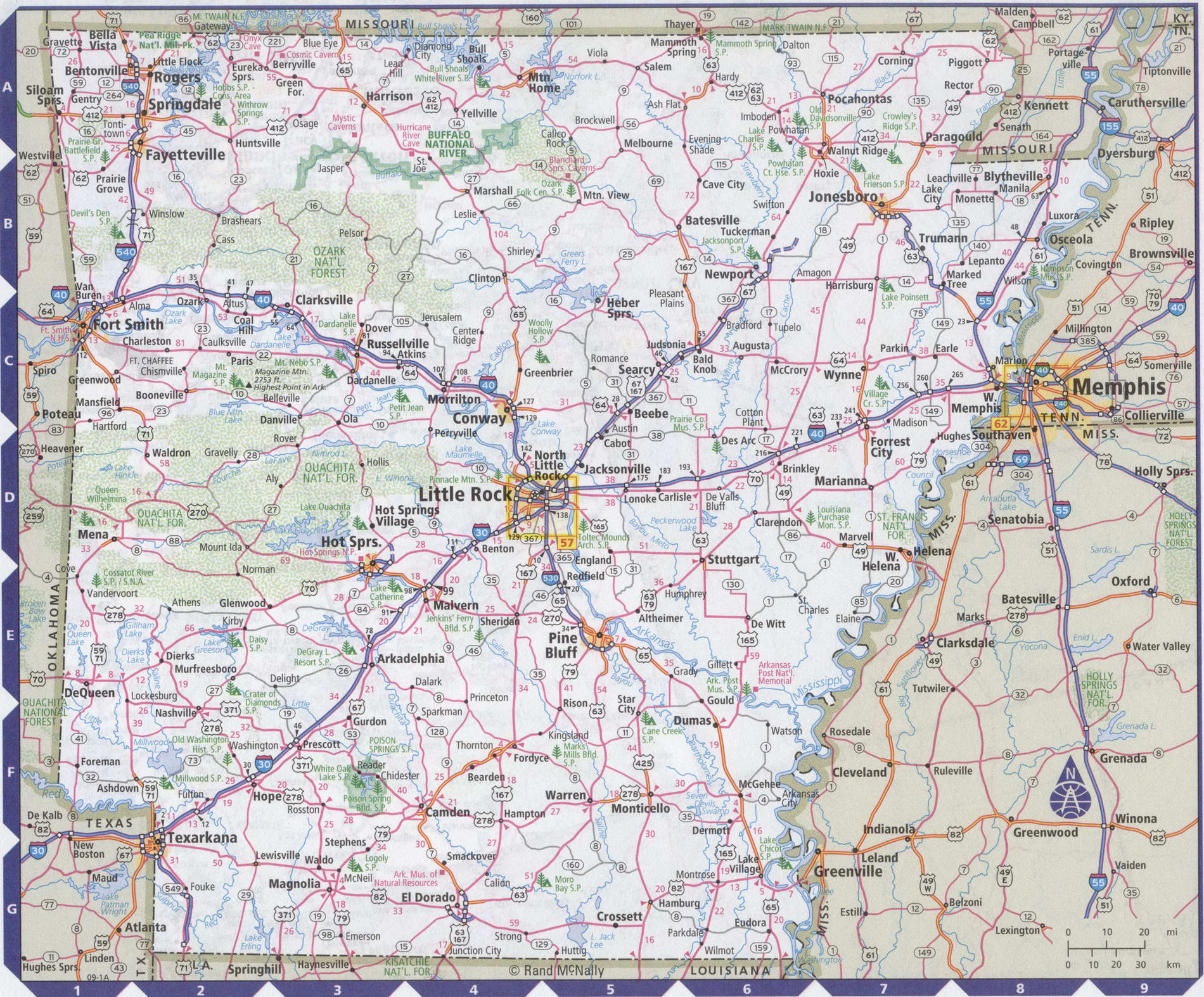 Roads map of Arkansas state