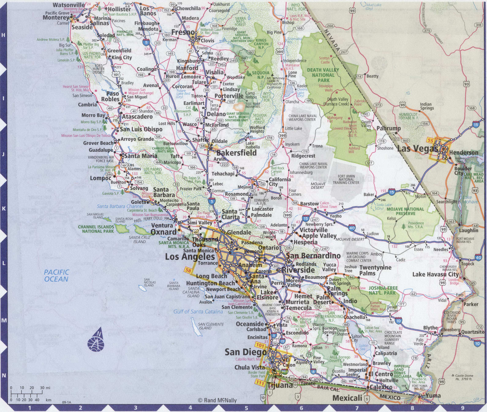 Roads map of South California