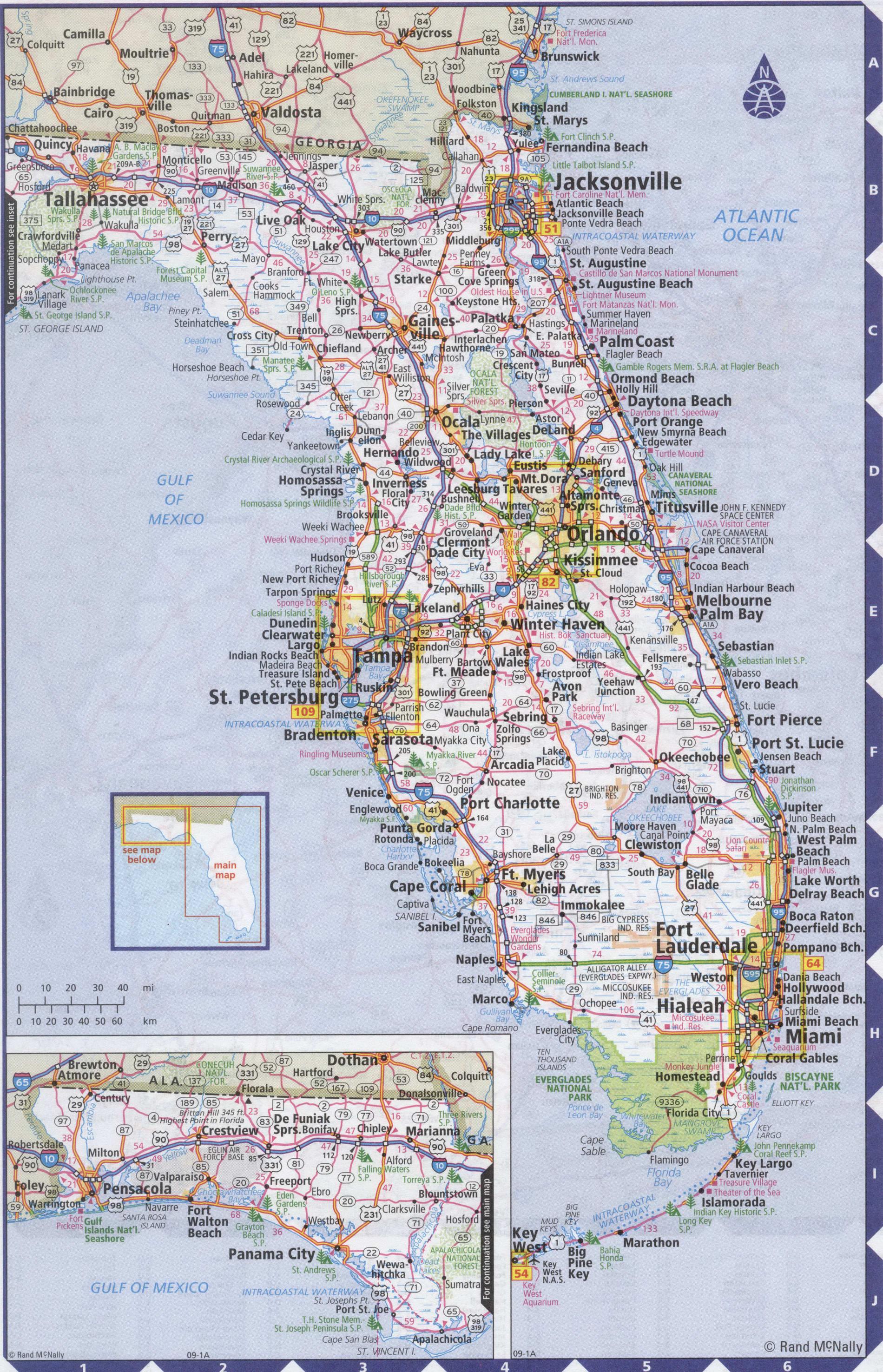 Roads map of Florida state