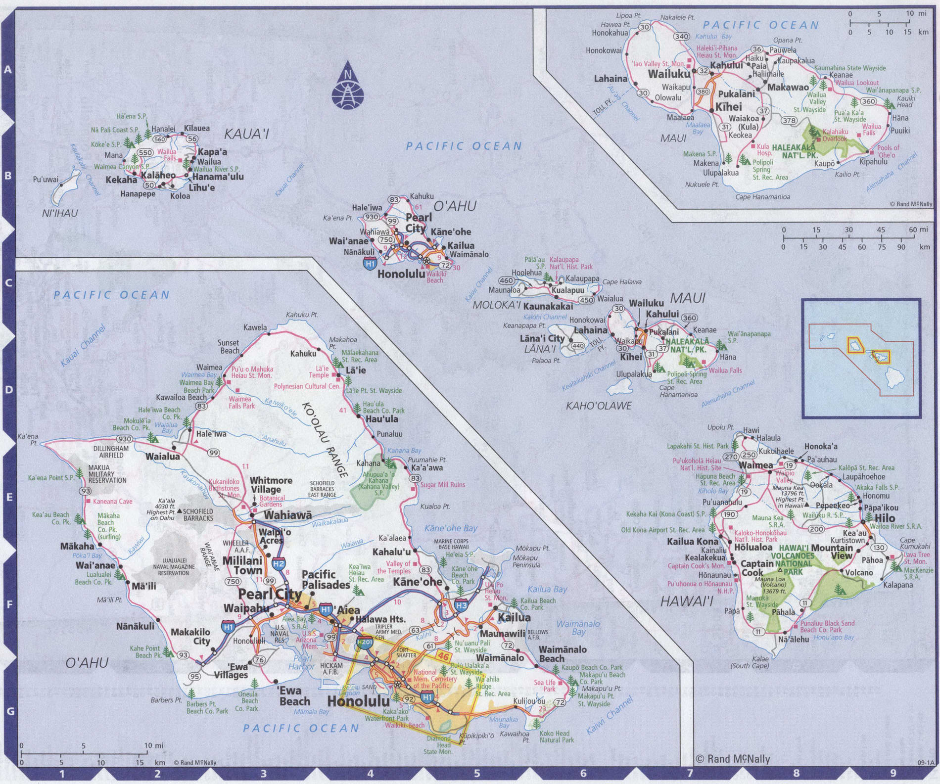 Roads map of Hawaii state