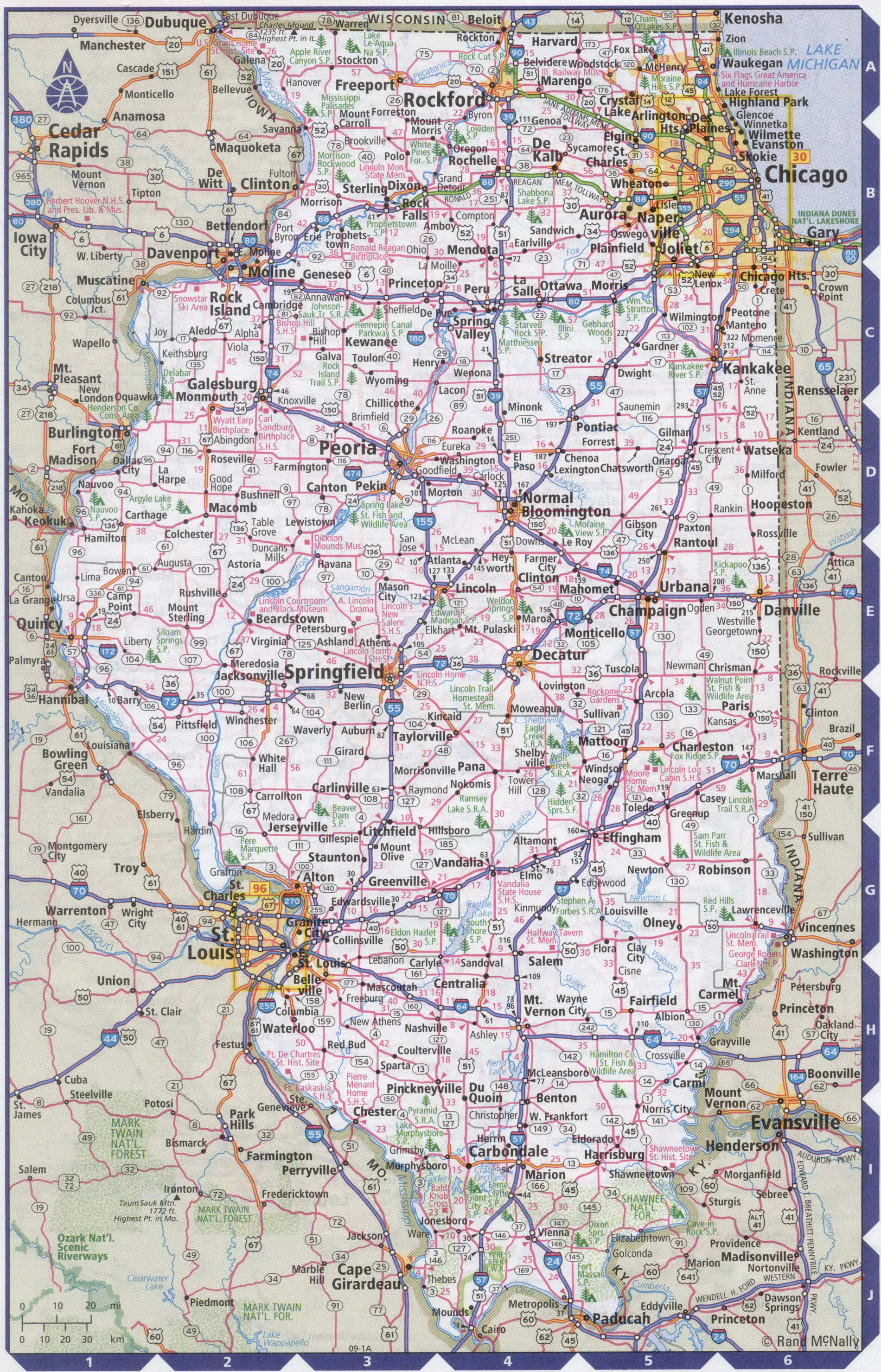 Roads map of Illinois state