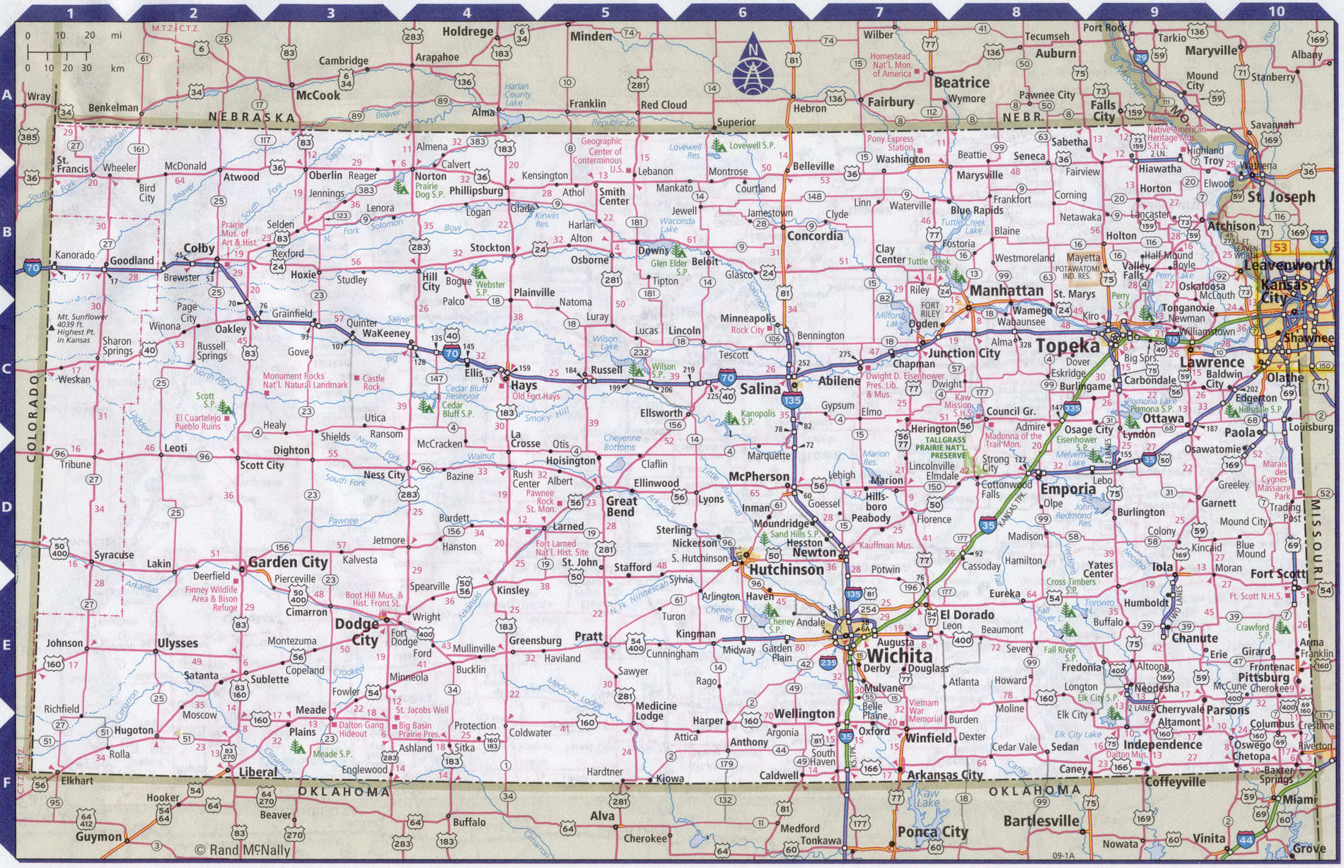 Roads map of Kansas state