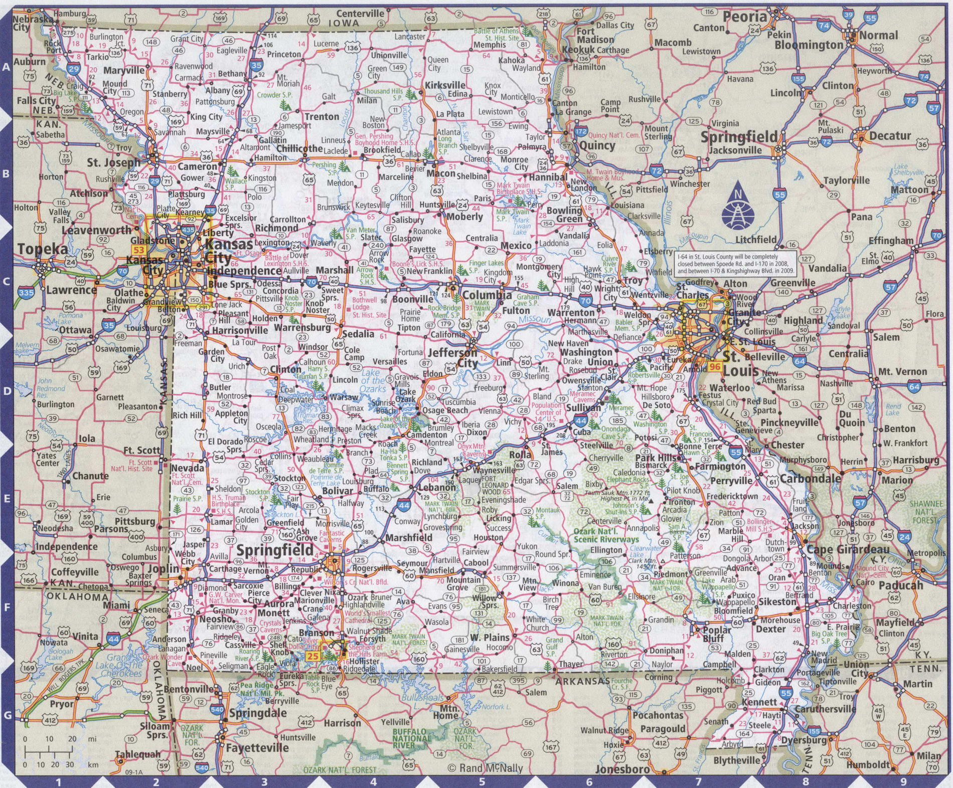 Roads map of Missouri state