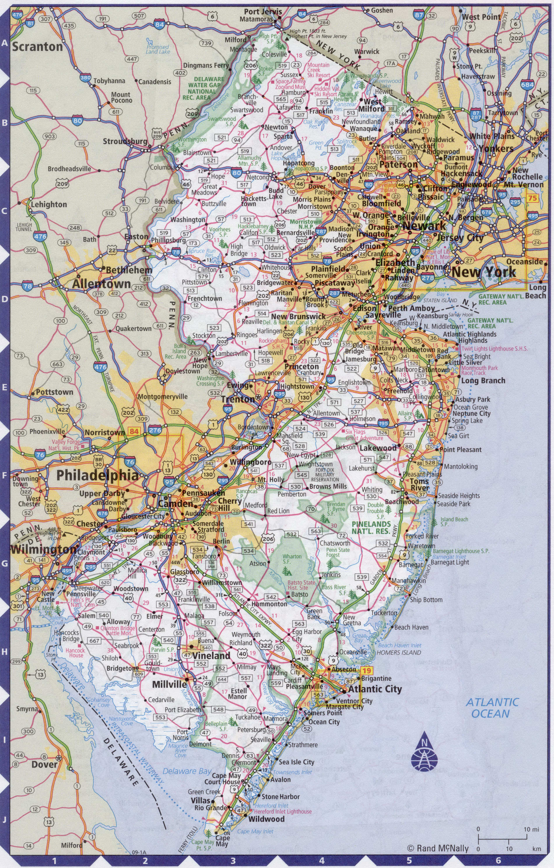 Roads map of New Jersey state