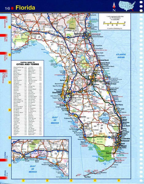Map of Florida - national parks, reserves, recreation areas
