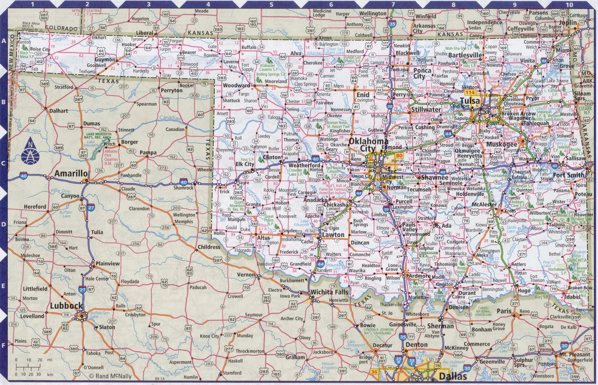 Roads map of Oklahoma state