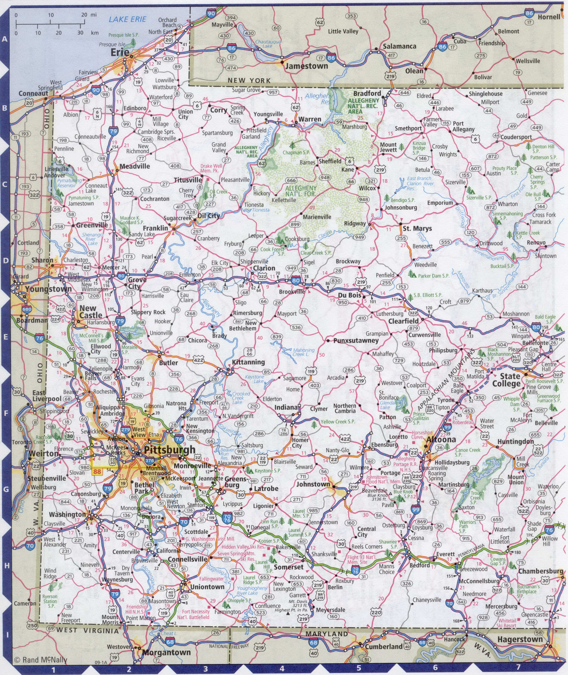 Image of: Map Of Pennsylvania State With Highways Roads Cities Counties Pennsylvania Map Image Map Of Usa