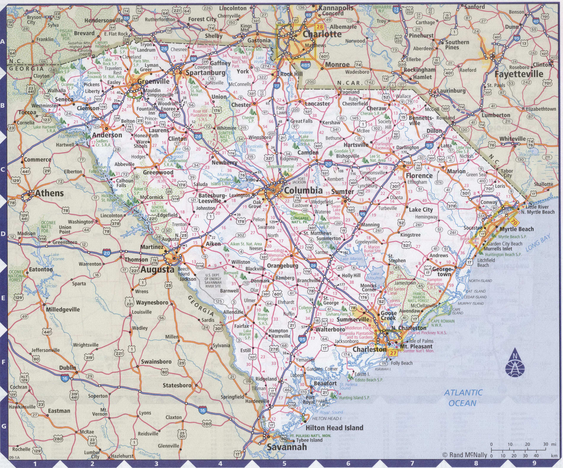 Roads map of South Carolina state
