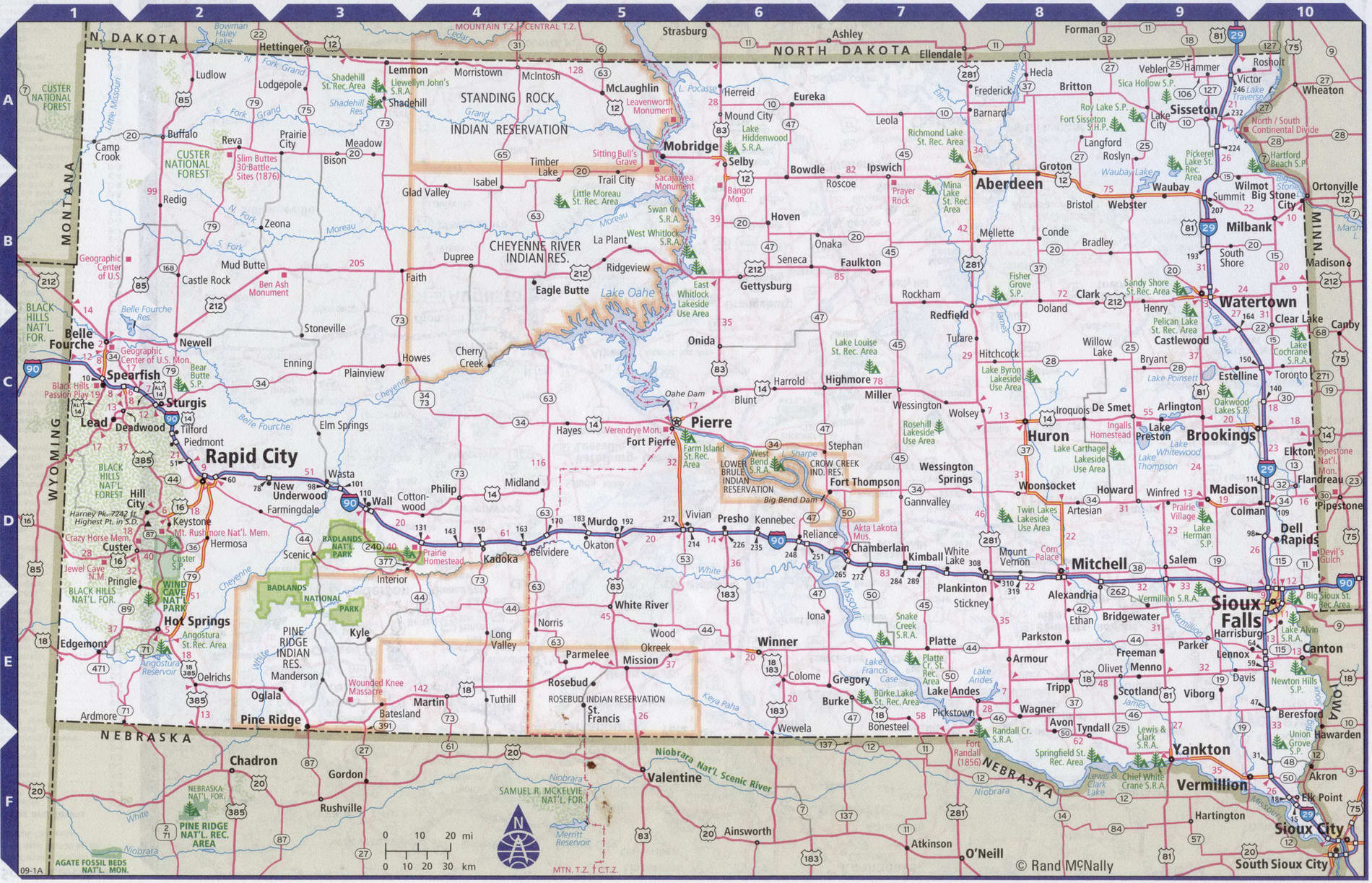 Roads map of South Dakota state