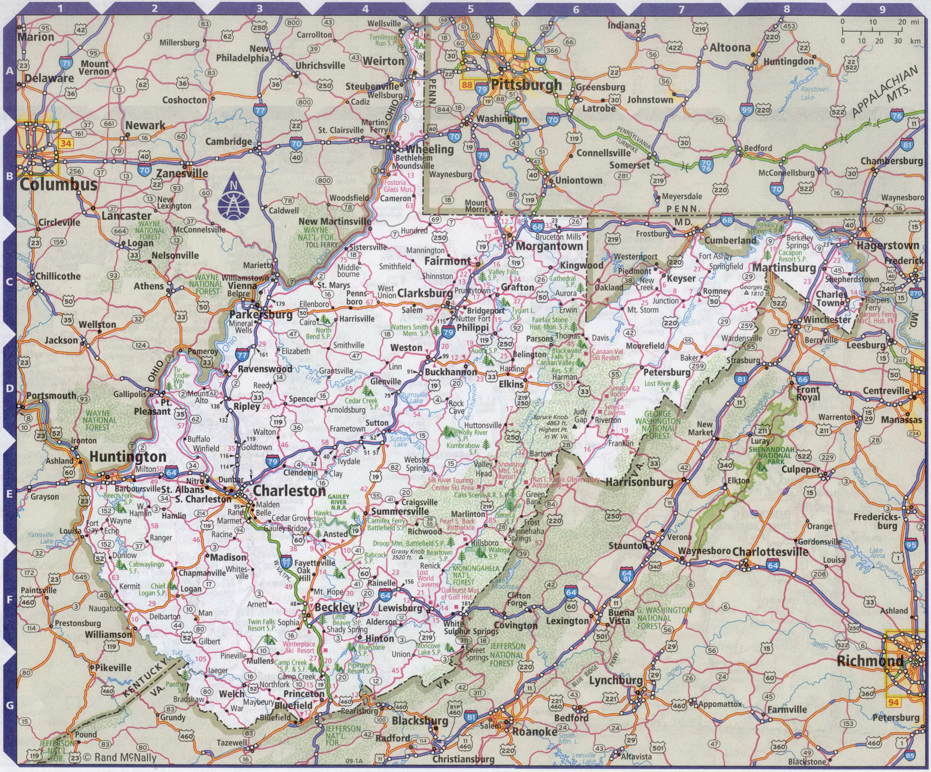 Roads map of West Virginia state