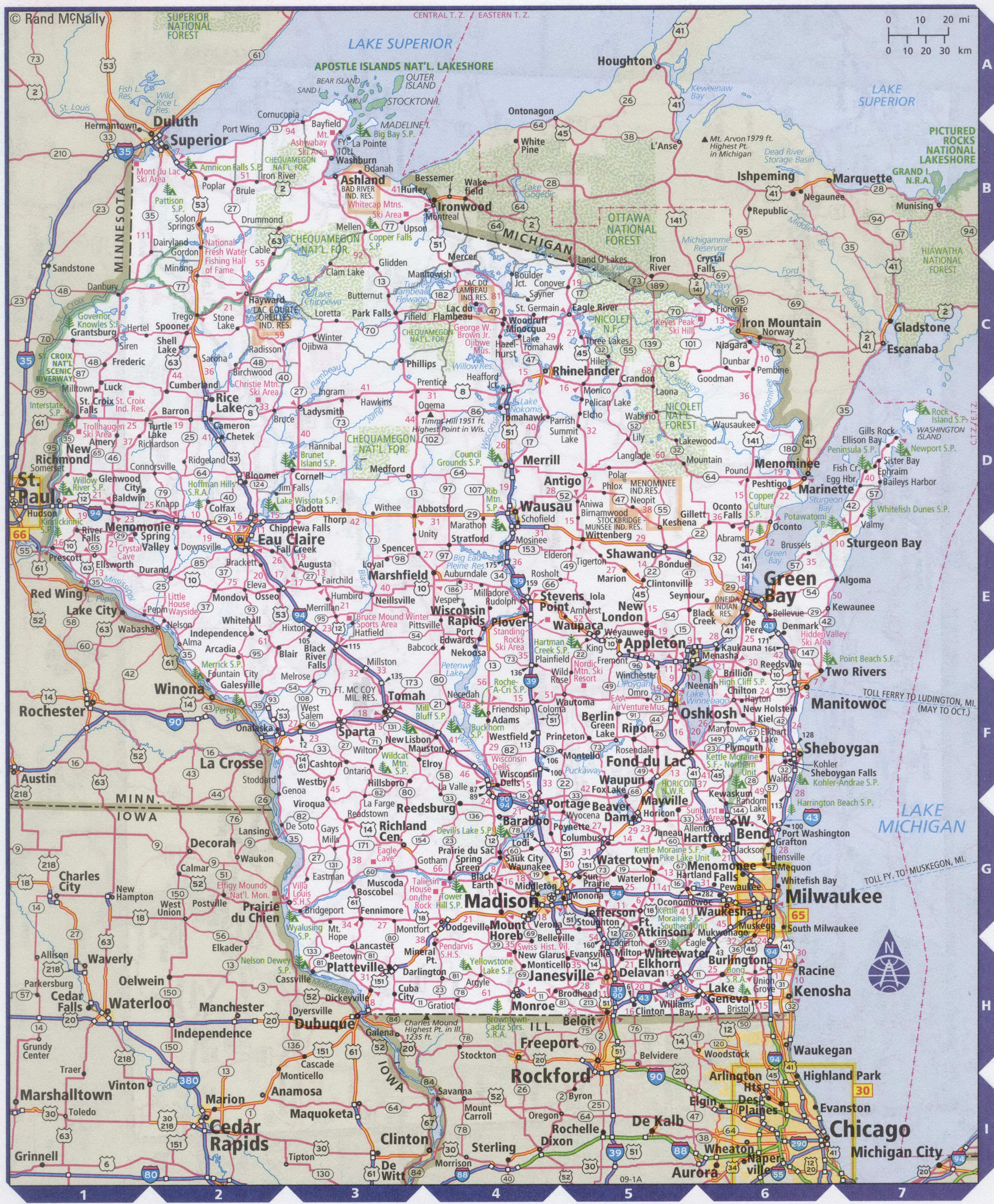 Roads map of Wisconsin state