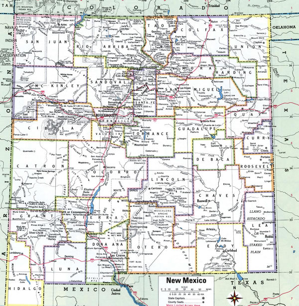 Map County of New Mexico state