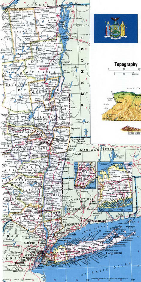 Map of Counties of New York state - eastern path
