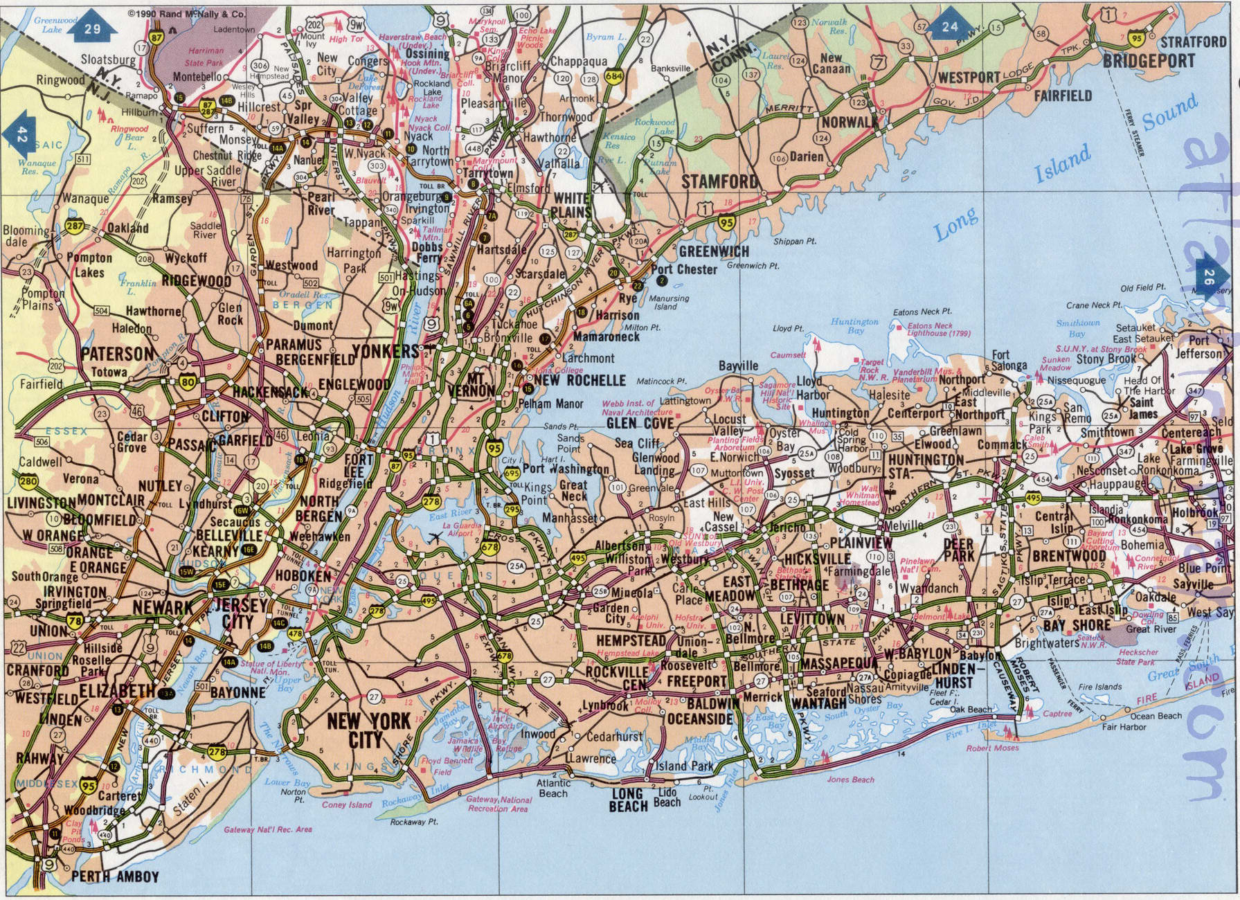 Long Island Road Map Image Detailed Highway Map Of Long Island Map Of Usa