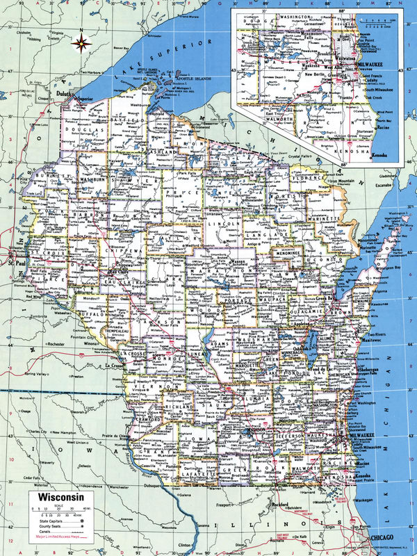 Map Counties of Wisconsin state