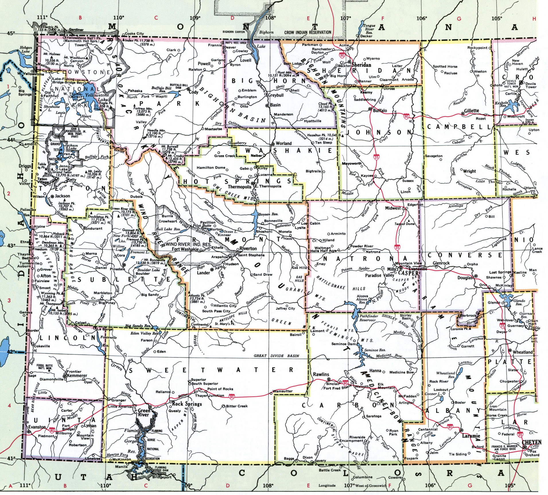 Map of Counties of Wyoming state