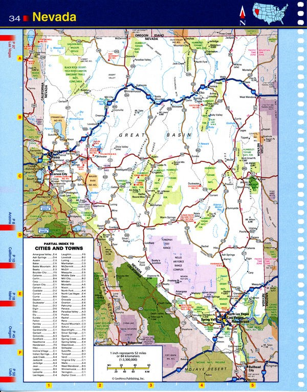 Map of Nevada state - national parks, reserves, recreation areas