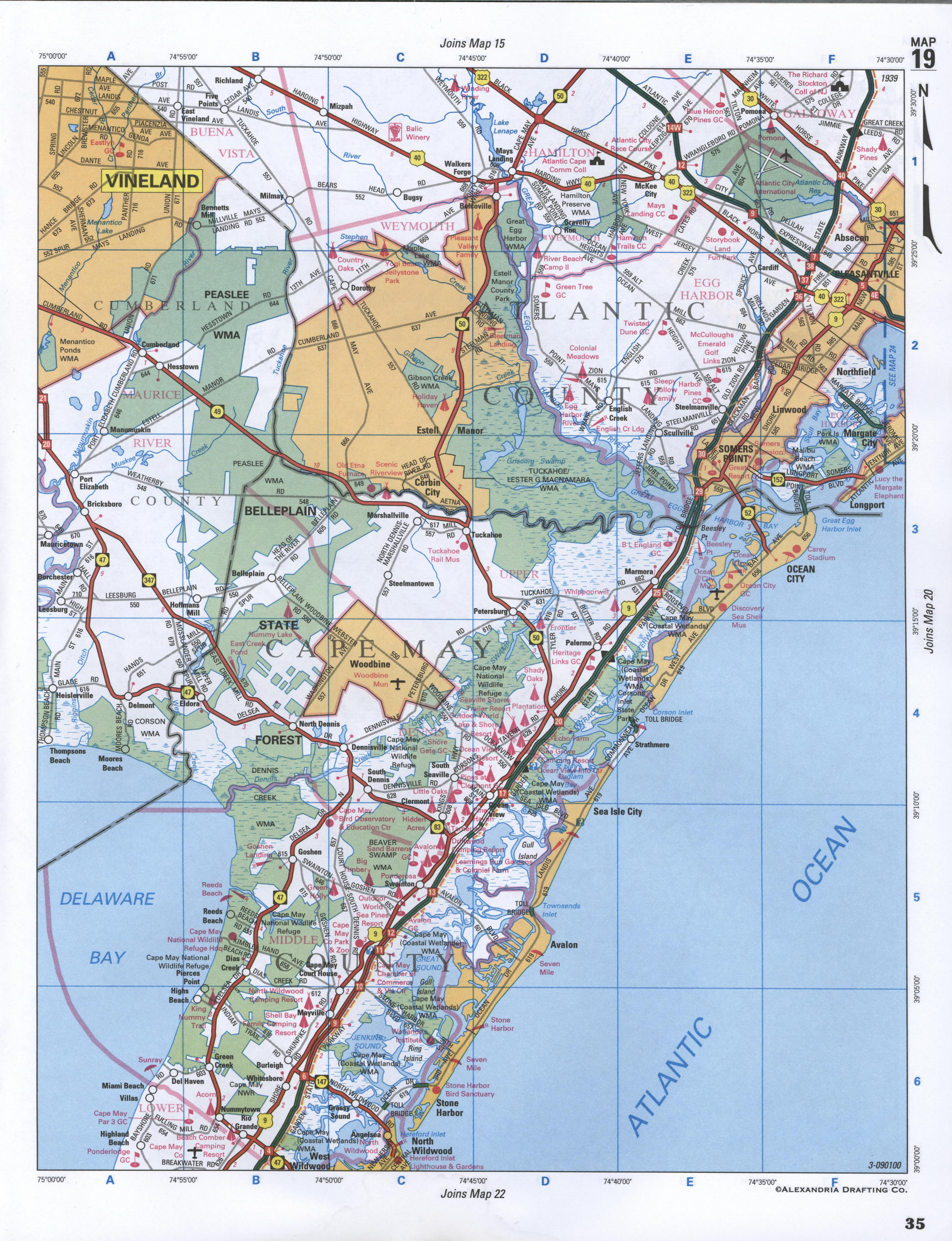 Map of Atlantic County, New Jersey state