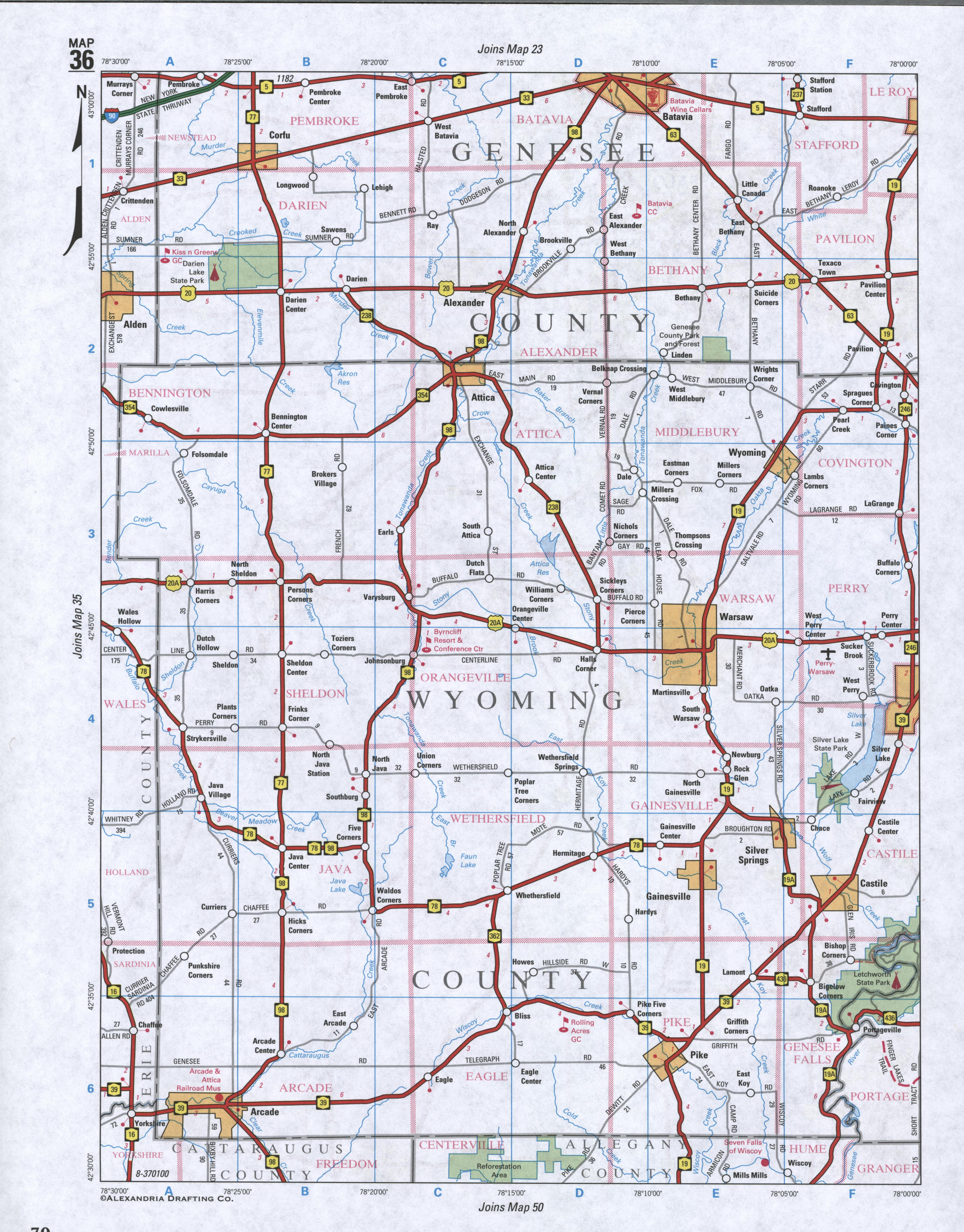 Map of Genesee County, New York state