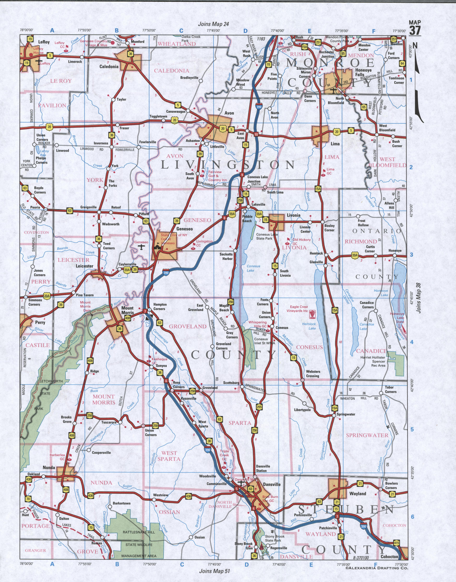 Map of Livingston County, New York state