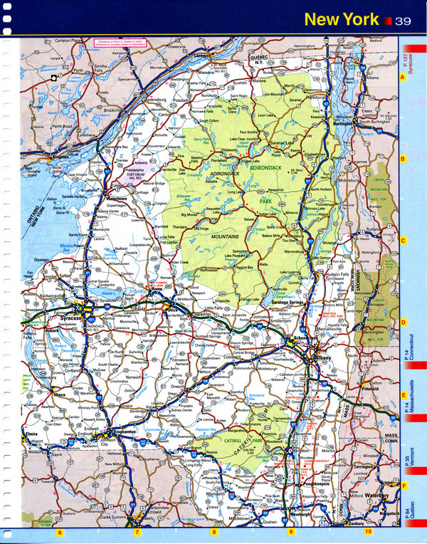 Map of New York state - national parks, reserves, recreation areas, and Indian reservations