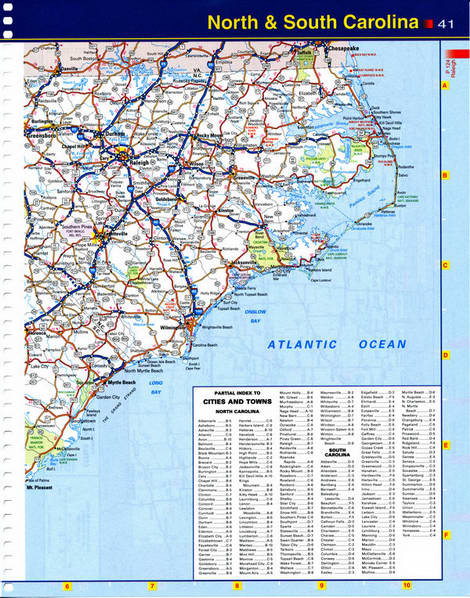 Map of South Carolina - highways, national parks, reserves, recreation areas