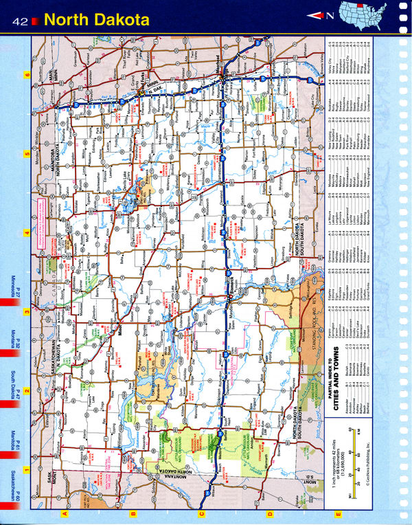 Map of North Dakota state - national parks, reserves, recreation areas