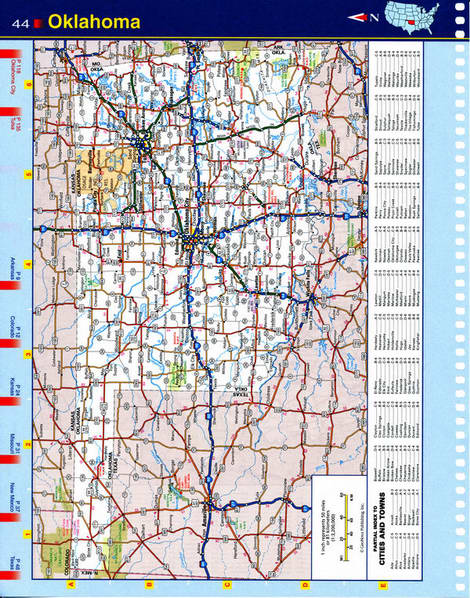 Map of Oklahoma state - national parks, reserves, recreation areas