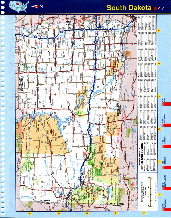 Map of South Dakota - national parks, reserves, recreation areas