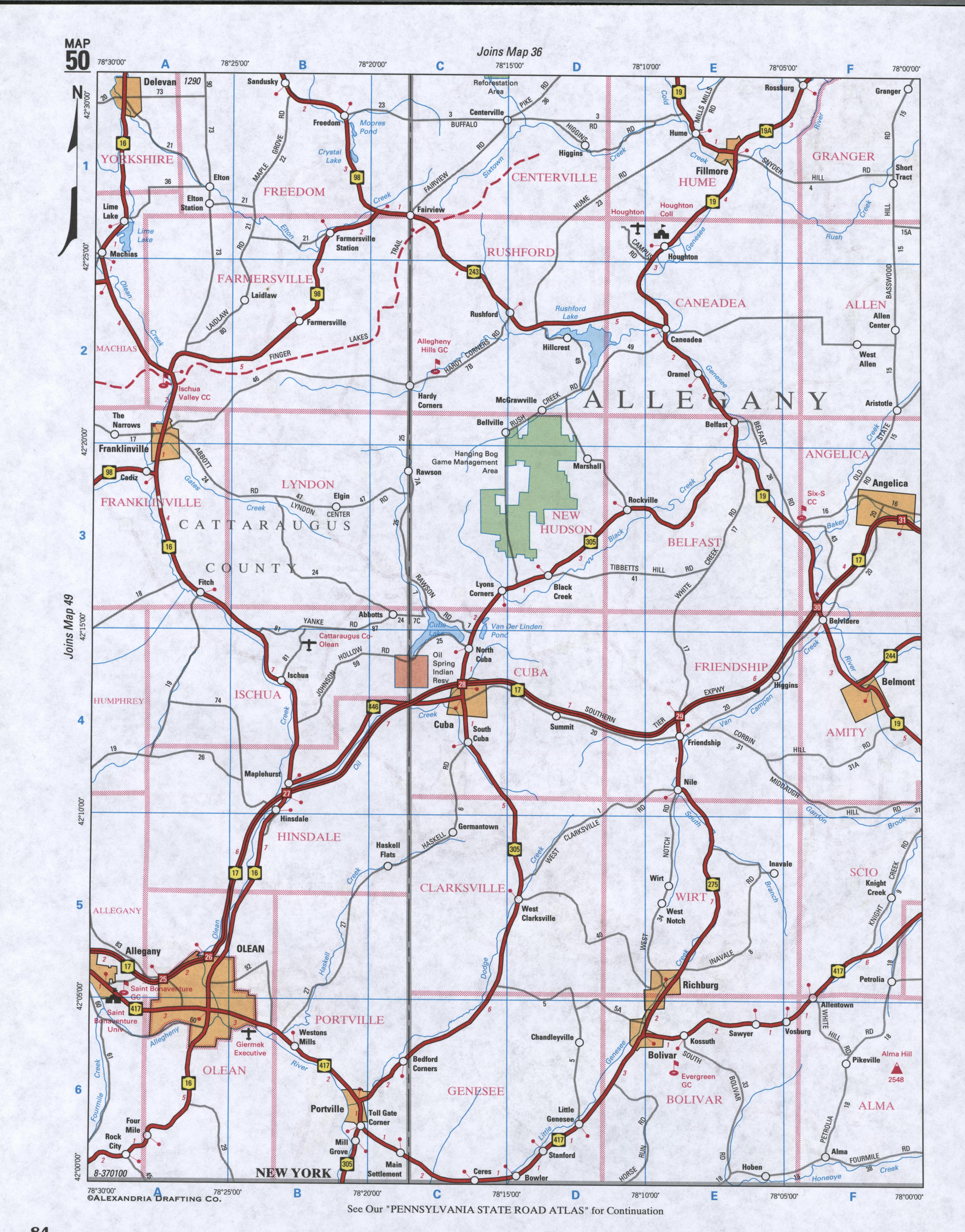 Map of Allegany County, New York state