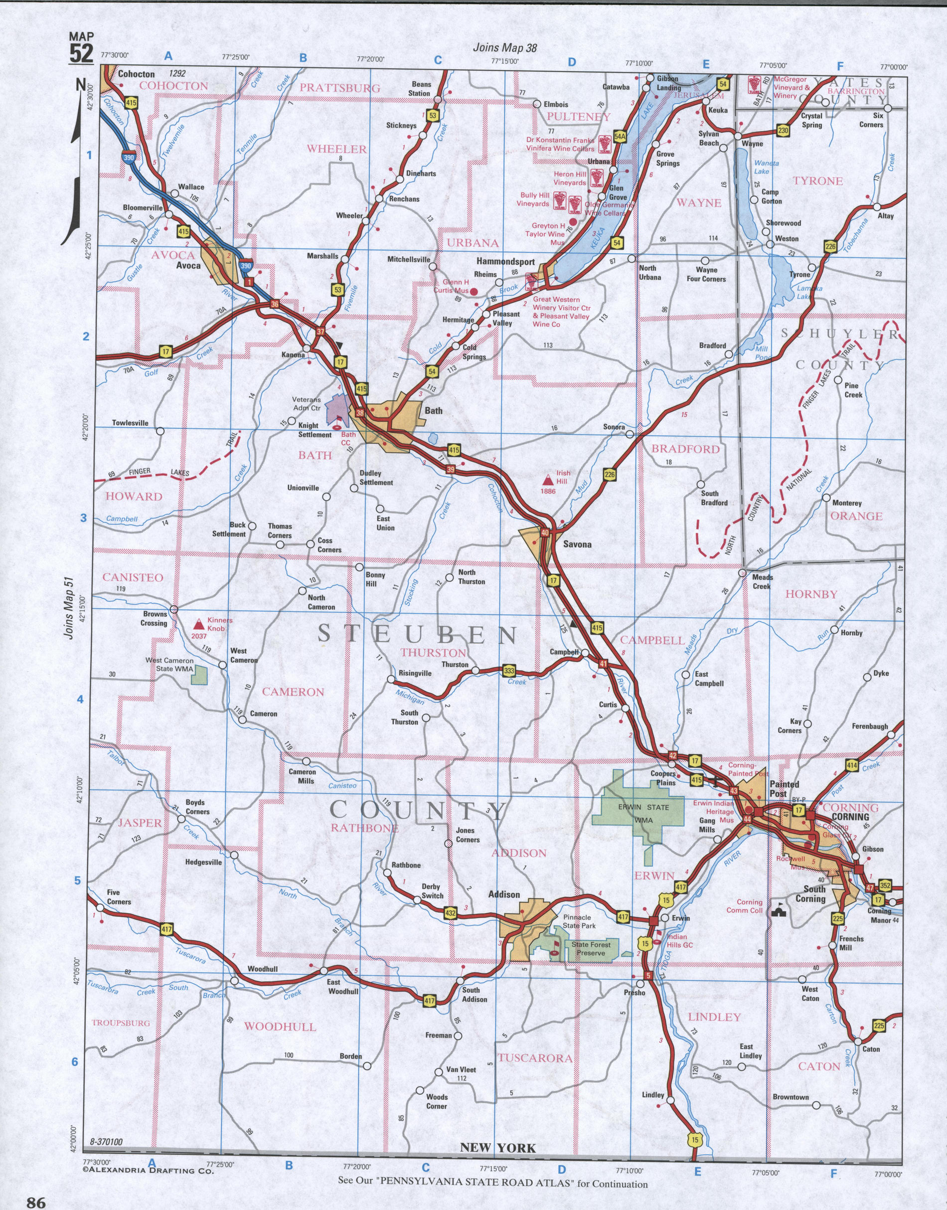 Map of Steuben County, New York state