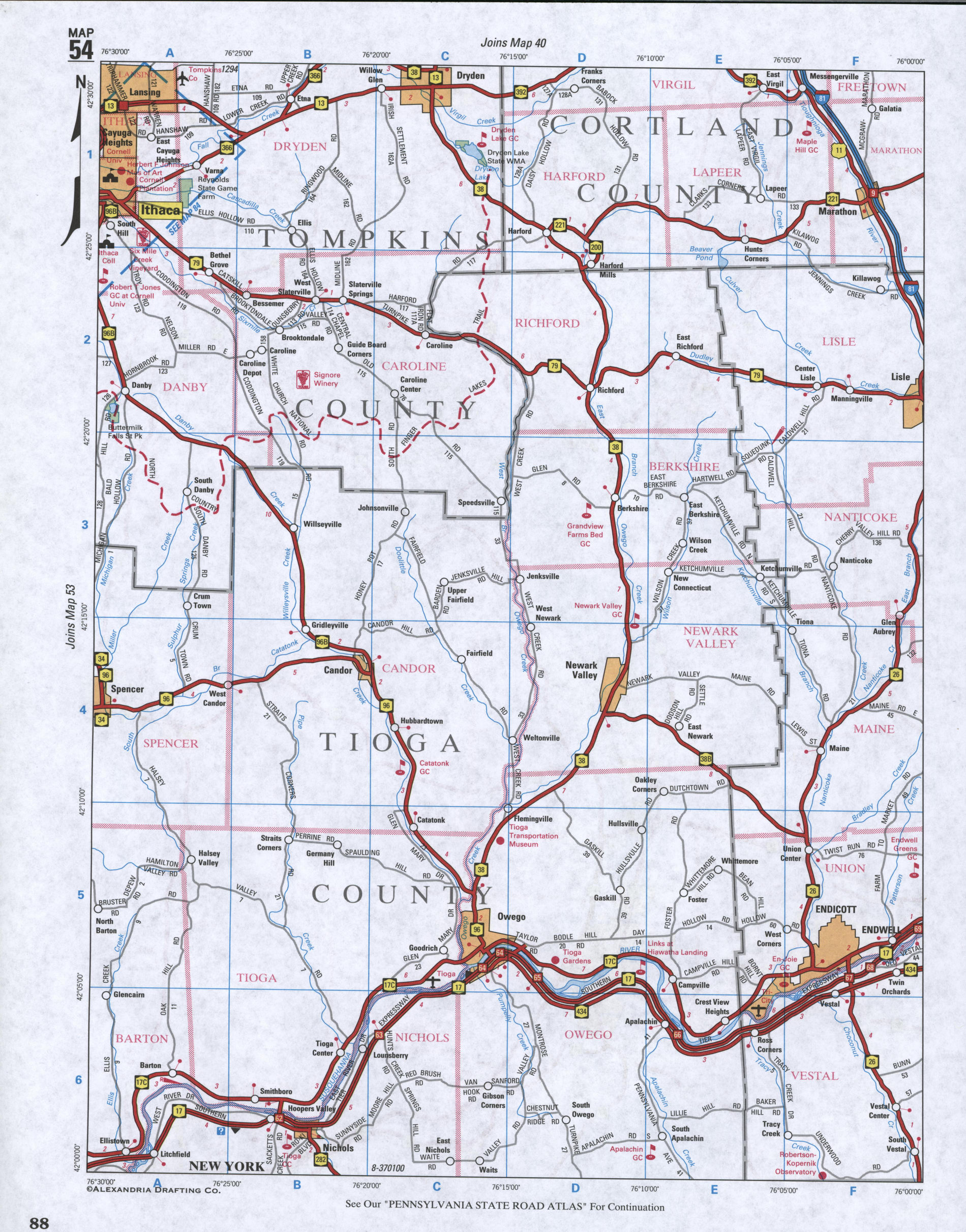 Map of Tioga County, New York state