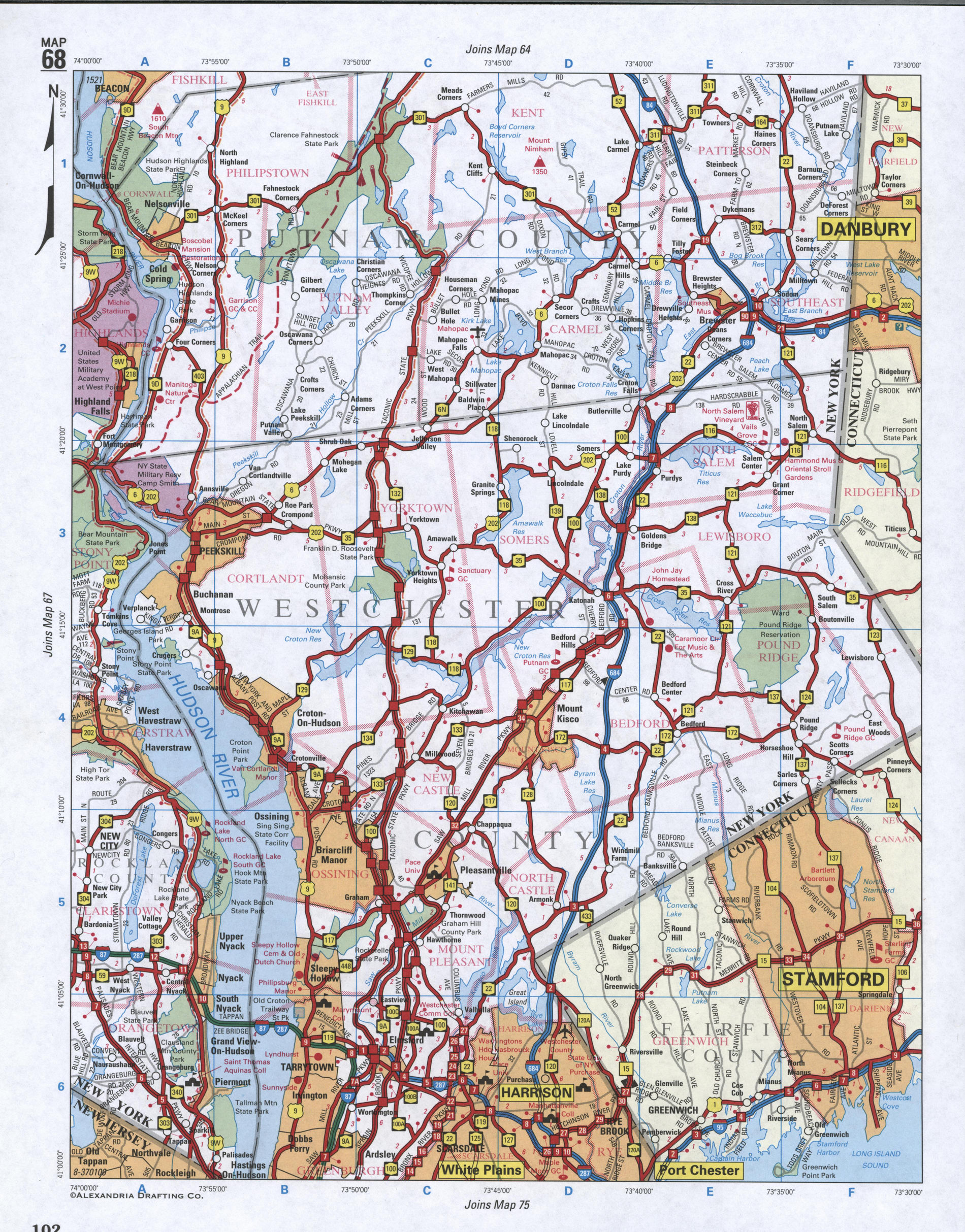 Map of Westchester County, New York state