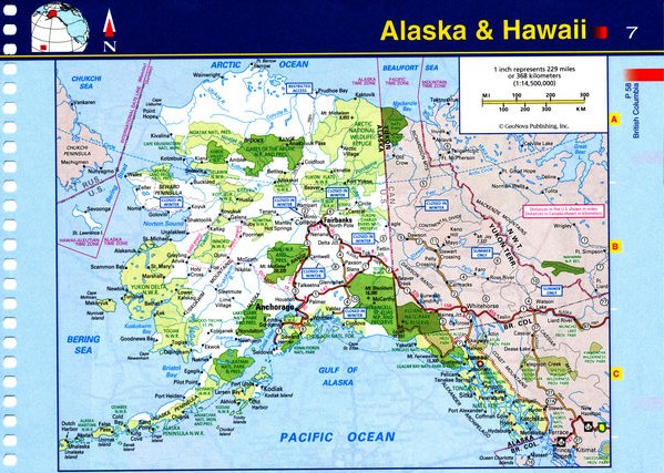Map of Alaska state - national parks, reserves, recreation areas