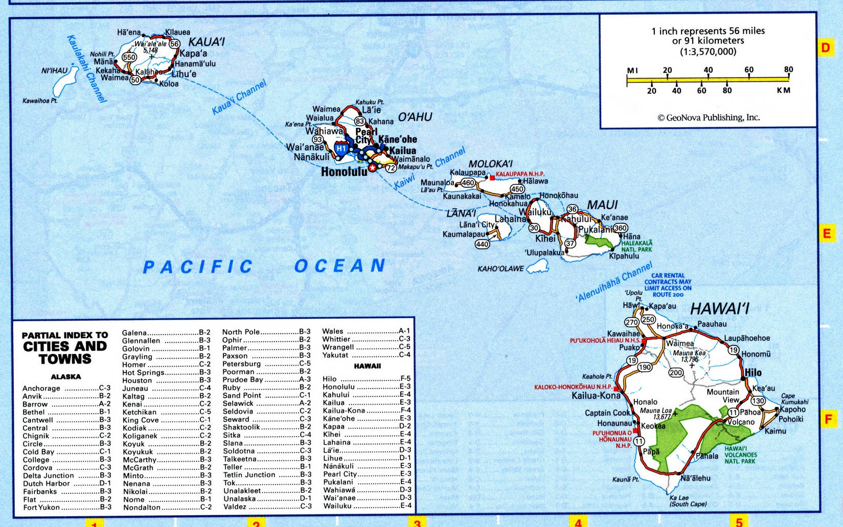 Map of Hawaii state - national parks, reserves, recreation areas