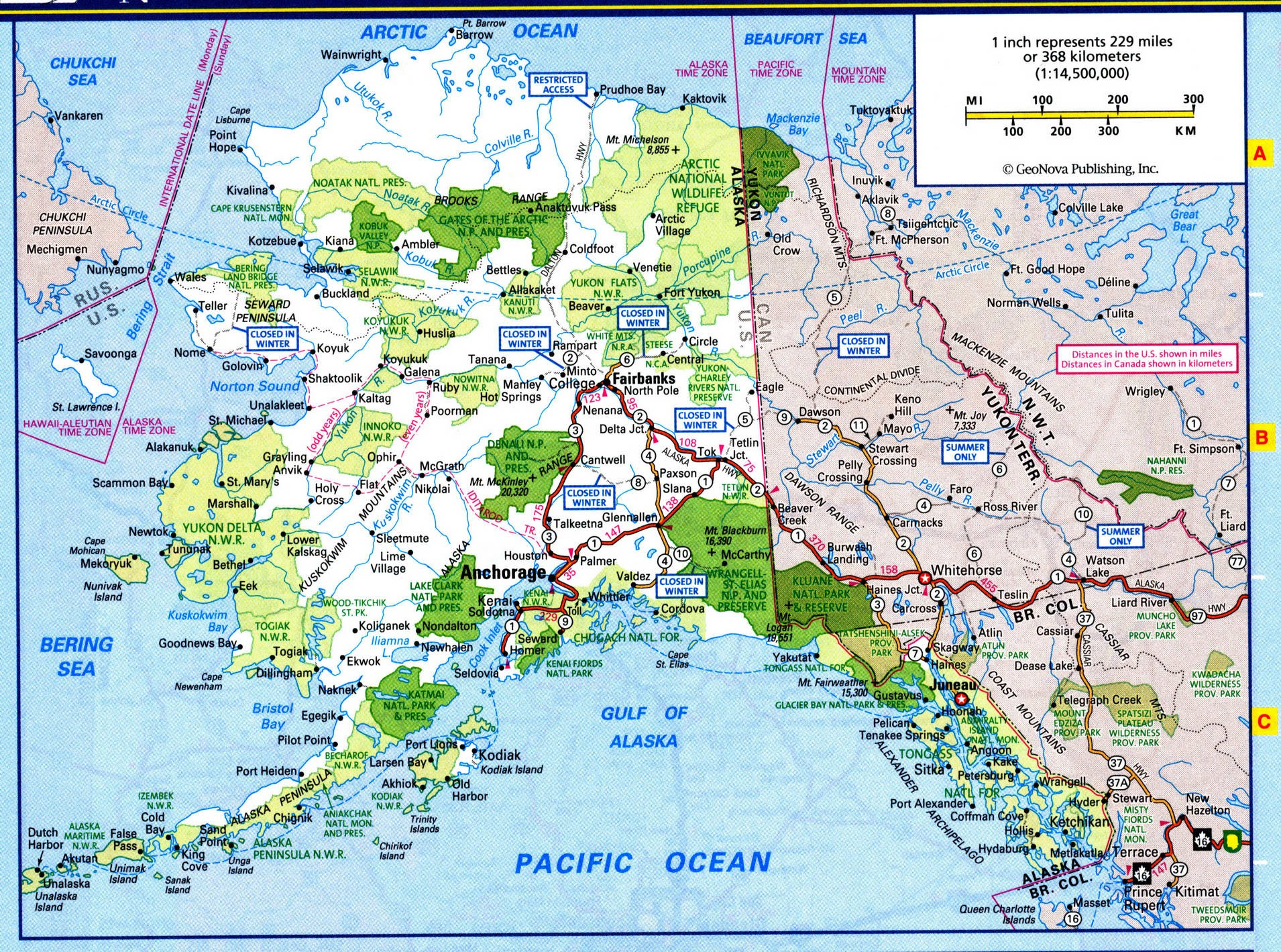 Alaska map with national parks