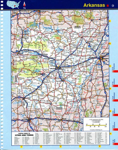 Map of Arkansas state - national parks, reserves, recreation areas