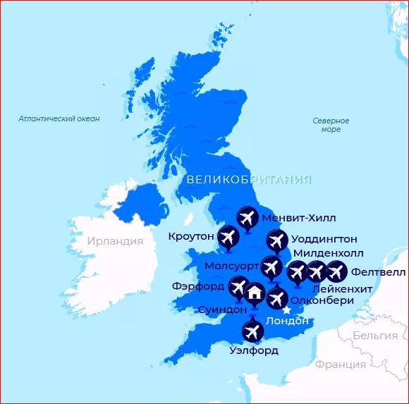 Map of the location of NATO and us military bases in the UK